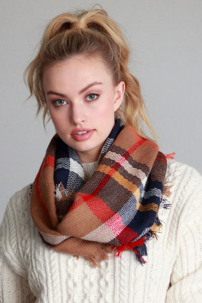 Basic Everyday Plaid Infinity Scarf (more colors)