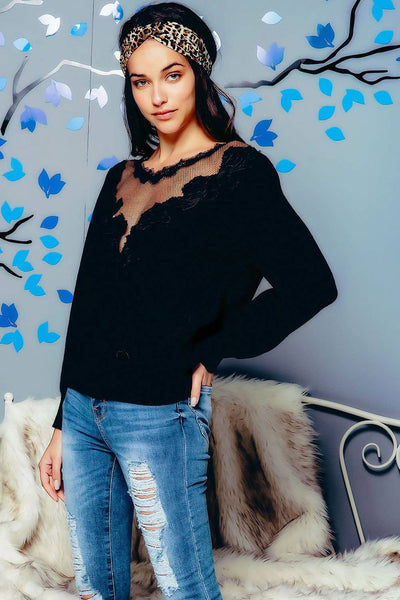Knit Puff Sleeve Sweater with Embroidery and Lace