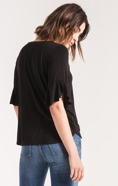 The Premium Sleek Jersey Ruffle Black Tee by Z SUPPLY