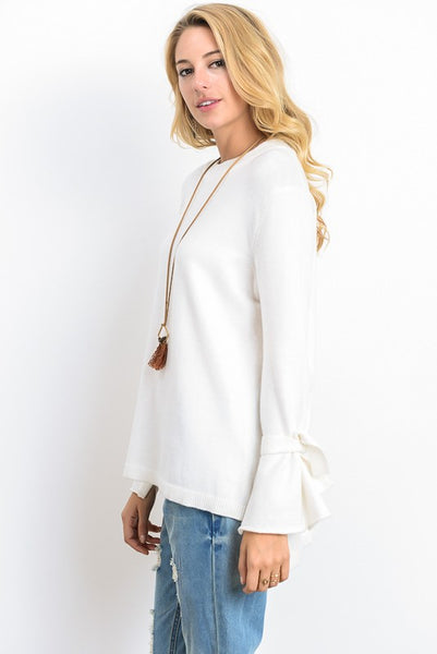 Tie Detail Bell Sleeve Sweater (more colors)
