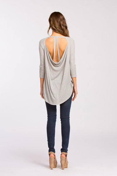 Pleasant Surprise Open Back Detailed 3/4 Sleeve Top