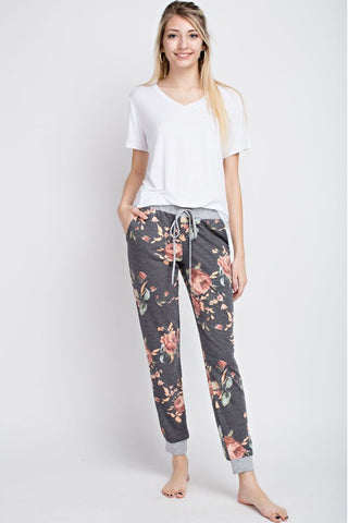 Sitting Pretty Floral Print Charcoal Lounge Joggers