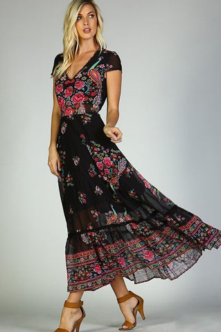Lovebirds of Paradise Floral Print Cap Sleeve Maxi Dress