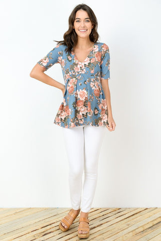 Blossoming Bump Quarter Sleeve Top