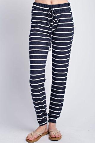 Stripe Up Lounging Striped Charcoal & White Joggers