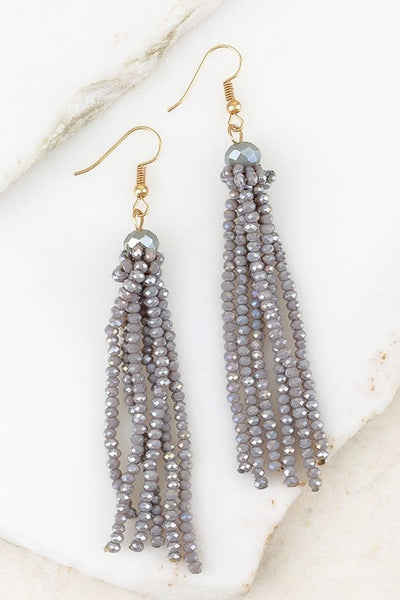Crystal Bead Tassel Earrings (more colors)