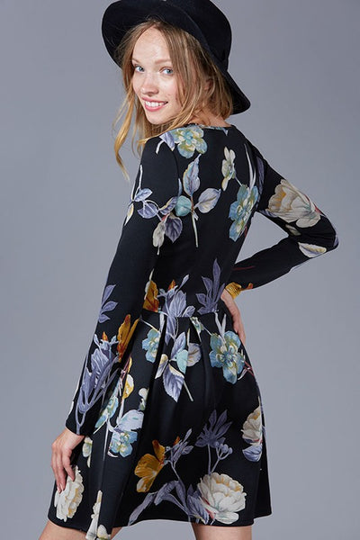 Everyday Occassion Long Sleeve Floral Print Dress