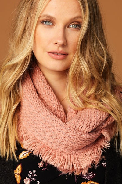 Solid Infinity Scarf w/ Fringe & Silver Thread (more colors)