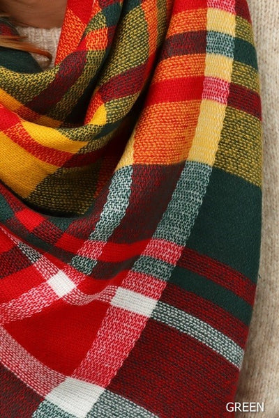 Multi-Color Plaid Square Scarf (more colors)