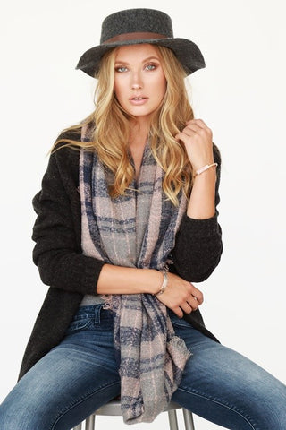 Soft Plaid Infinity Scarf with Fringe (more colors)