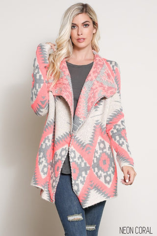 Tribal Pattern Waterfall Cardigan (more colors)