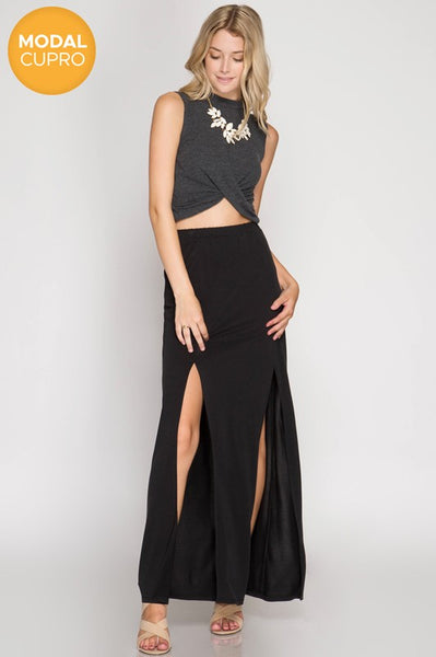 Modern Modal Maxi Skirt w/ Front Slits (more colors)