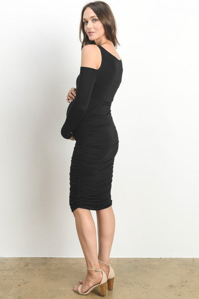 Mama's Night Out Cold Shoulder Black Dress