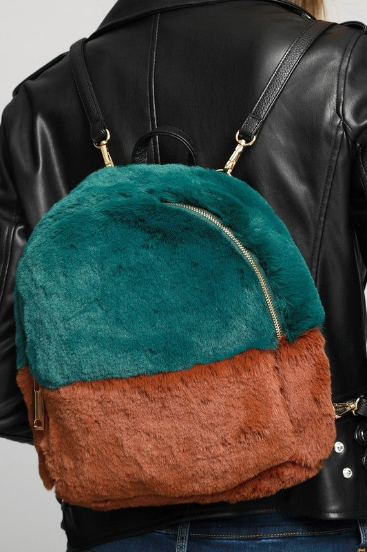 Two Tone Faux Fur Backpack (more colors)