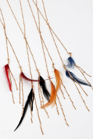 Feather Y Necklace