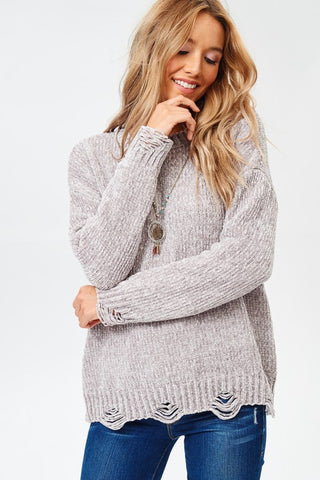 Silver Grey Chenille Distressed Detail Sweater