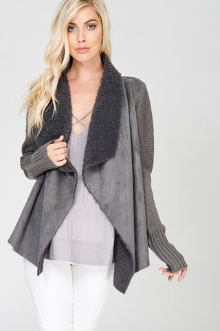 Sweater & Suede Cardigan Jacket (more colors)