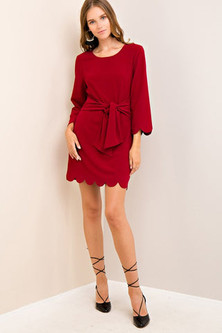 Bow-tiful Scalloped Detail 3/4 Sleeve Dress (more colors)