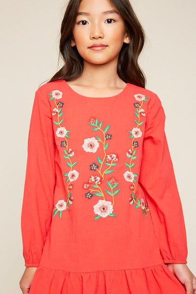Kids Floral Embroidered Red Dress