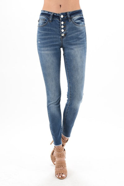 Judy Blue Button Fly Medium Wash Skinny Jeans