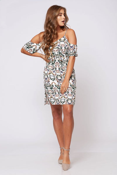 Summer to Fall Floral Print Open Shoulder Dress