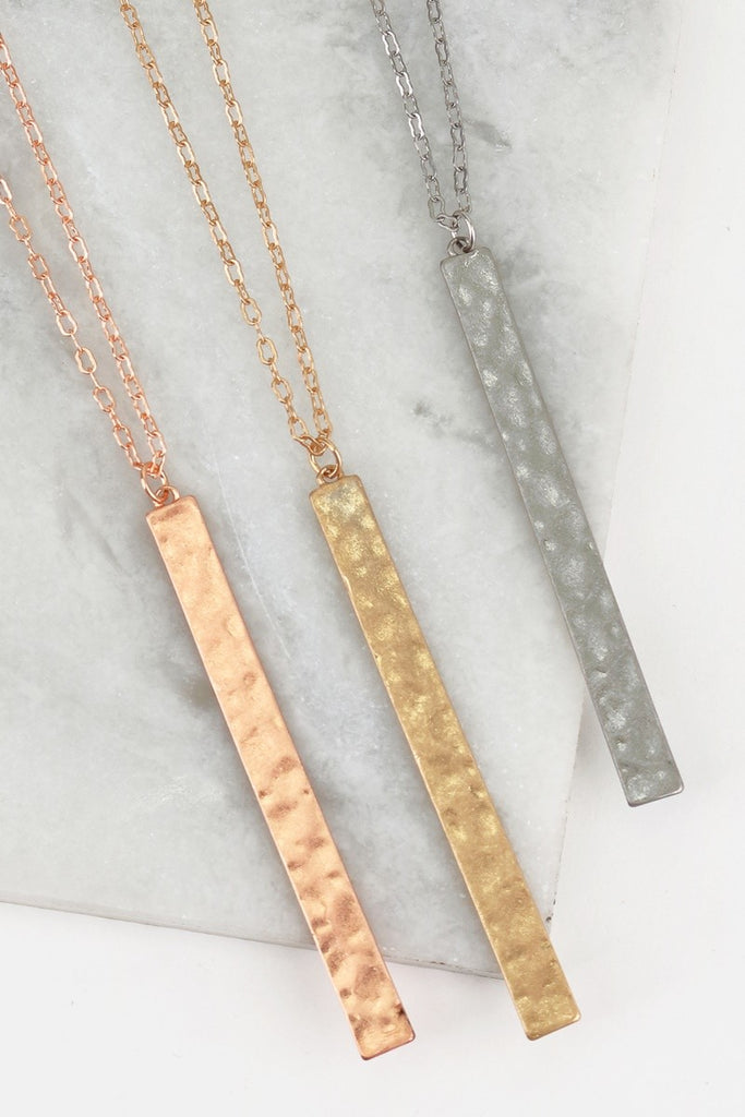 Hammered Metal Bar Long Necklace