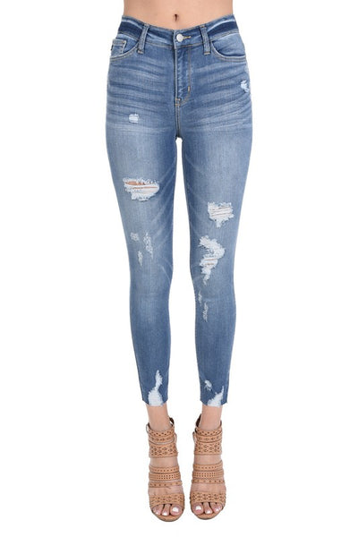 Judy Blue Distressed Hem Light Wash Skinny Jeans