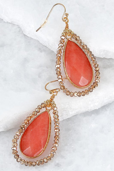 Teardrop Natural Stone & Glass Bead Earrings (more colors)