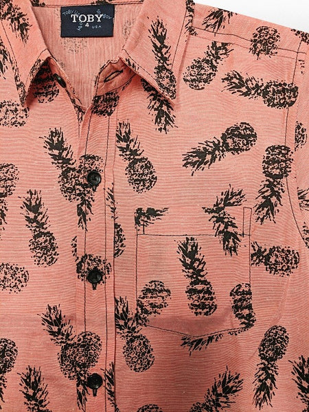 Orange Pineapple Boys Button Down Shirt