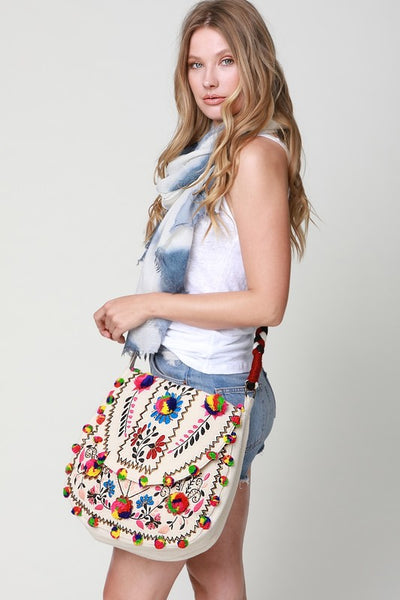 Bohemian Foral Multi-Color Pom Pom Bag