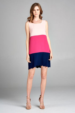 Pretty Preppy Color Block Sleeveless Dress