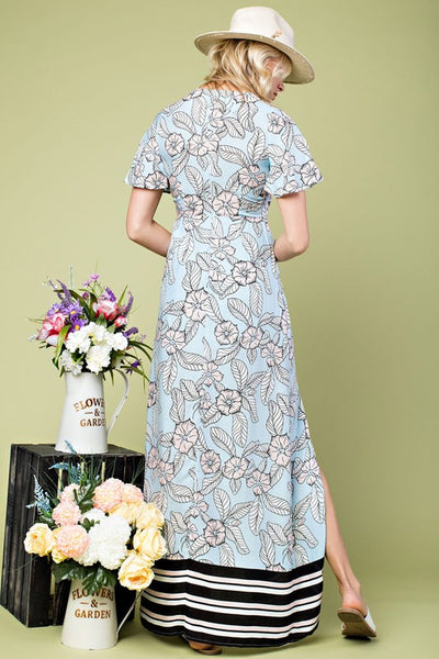 Paris Gardens Floral Print Maxi Dress