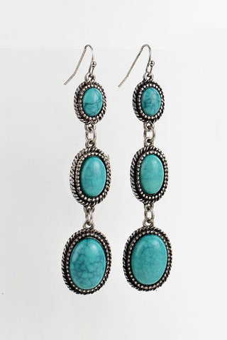 Boho Trio Oval Turquoise Dangle Earrings
