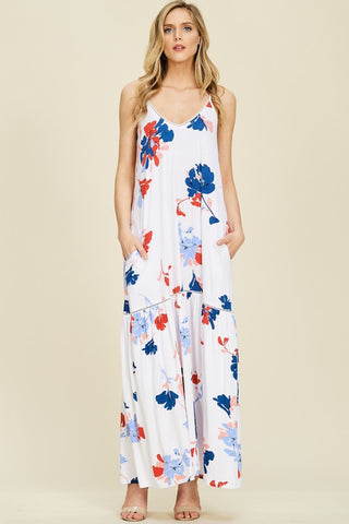Red, White, and Bloom Print Maxi Dress