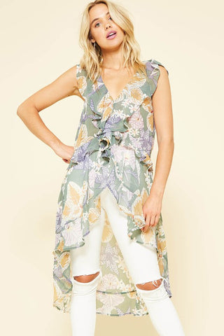Frolic in the Field Sleeveless Ruffled High-Low Top
