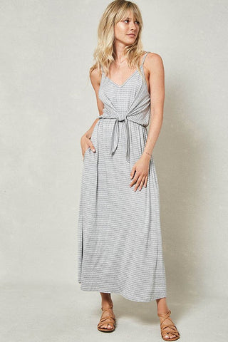 Grey Daze Tie-Front Ankle Dress