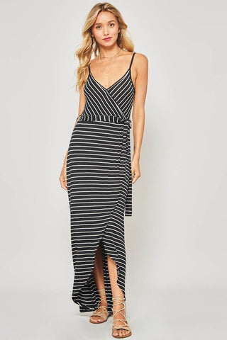 New Latitude Black and White Striped Maxi Dress