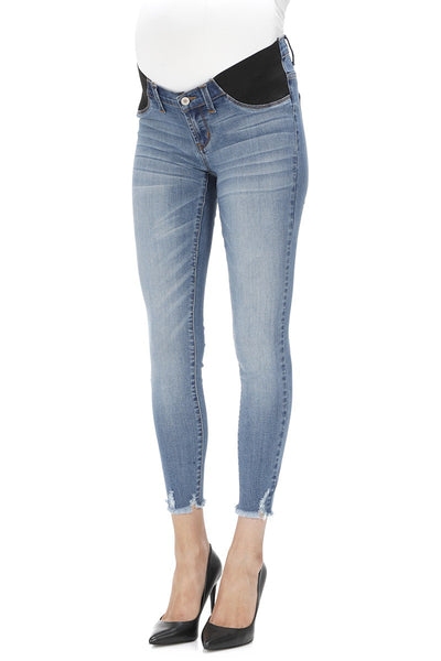 Light Wash Distressed Hem Maternity Jeans