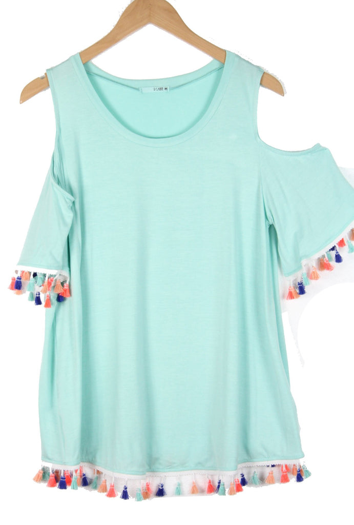 Mint Tassel Cold Shoulder Tunic
