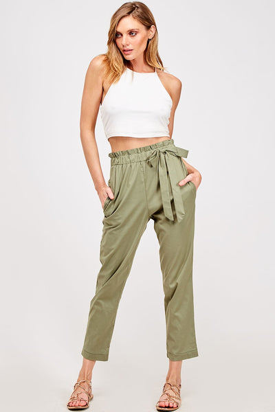 Olive Juice Smocked Paper Bag High Waisted Chino Pants