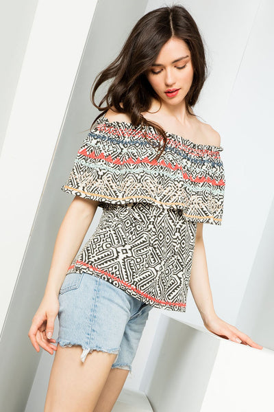 Tribe Vibe Black Printed Ruffle Off-Shoulder Top