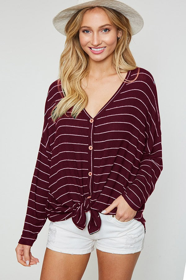 Wine Me Up Striped Front Knot Long Sleeve Top