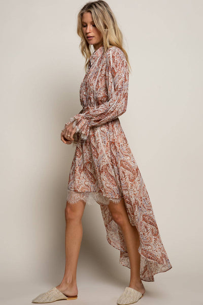 Rust Paisley Prairie Dress