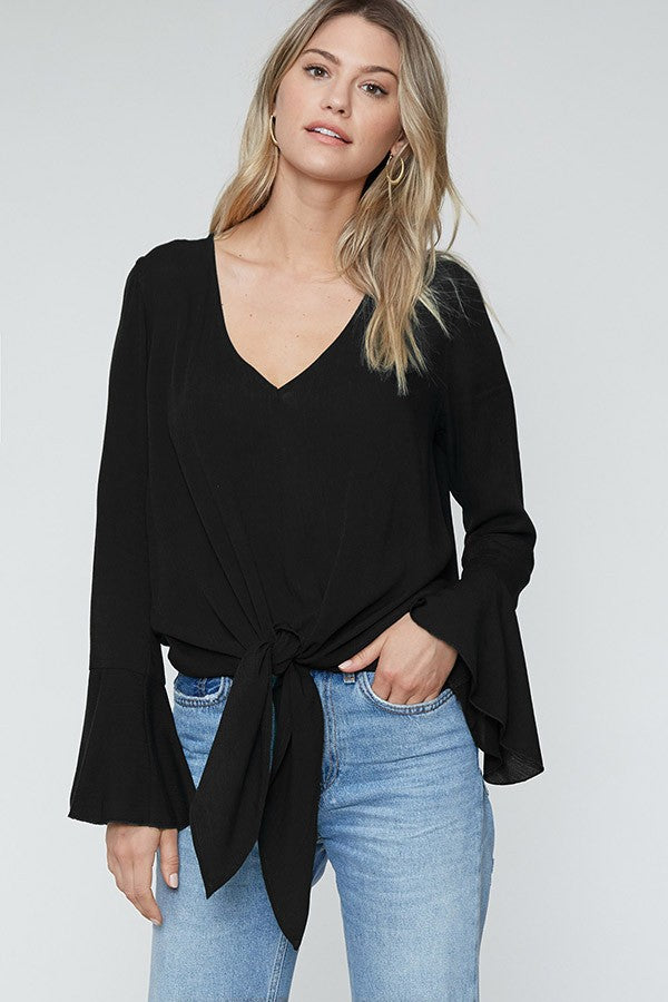 Tied to You Long Bell Sleeve Black Blouse