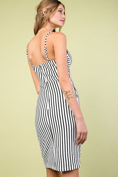 Walk the Line Black & White Striped Dress