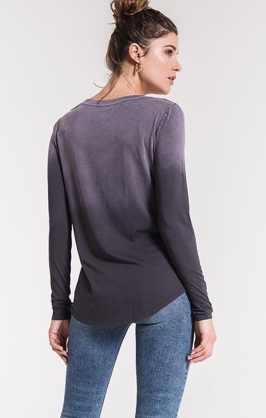 The Grey Ombre Long Sleeve V-Neck Tee by Z SUPPLY