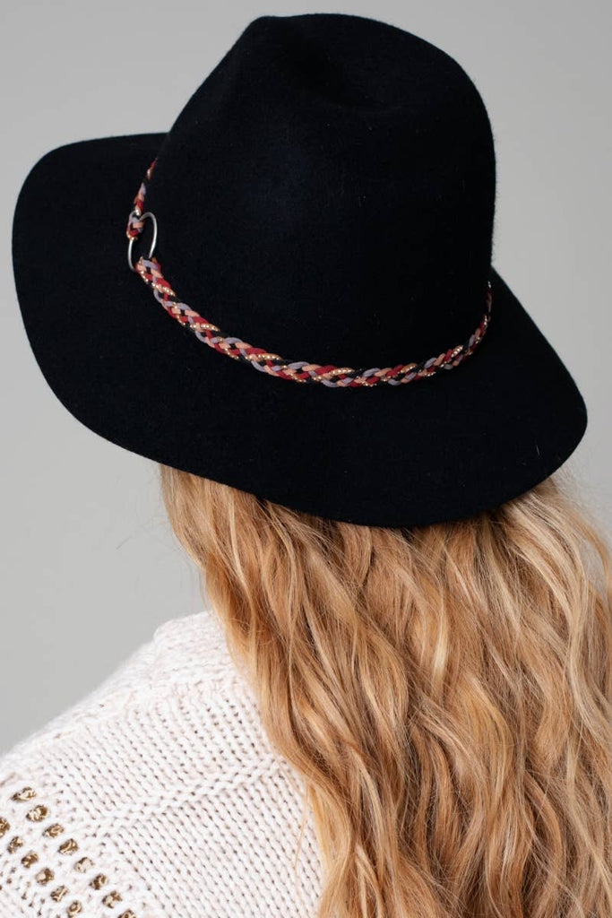 Alexis Black Floppy Felt Hat with Braided Detail