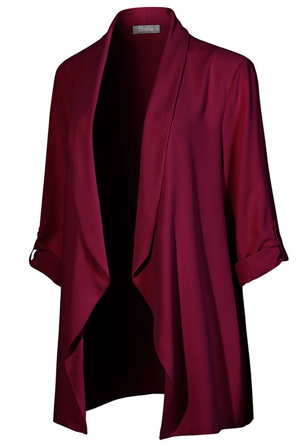 Khloe Draped Open Front Long Blazer Jacket