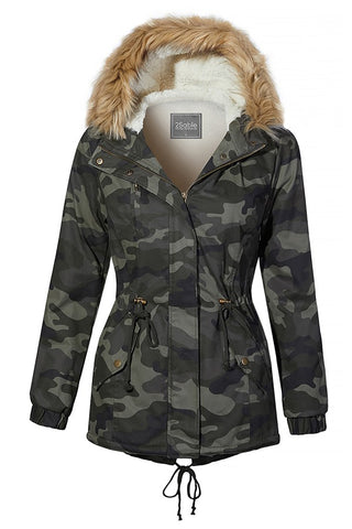 Cozy Camo Anorak Jacket with Removable Faux Fur