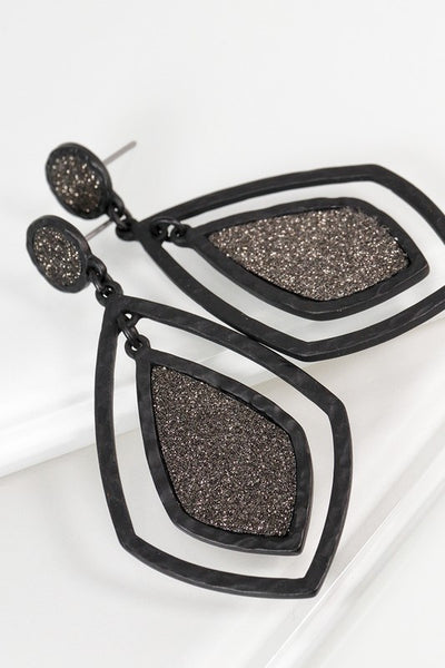 Glitzy Metal Dangle Earrings